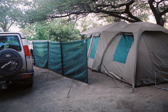 Camping with a big tent